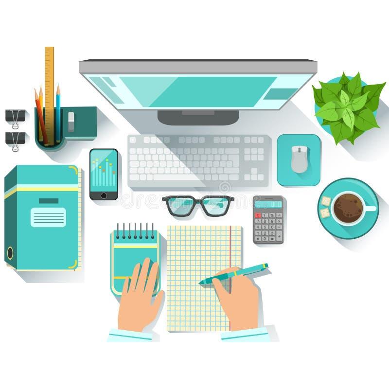 有公共事业的办公室Worplace和固定式包括计算机、咖啡杯、玻璃和纸 库存例证