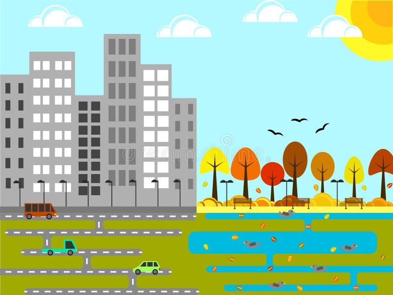 有公园和池塘秋天的平的Desig工业城市 向量例证