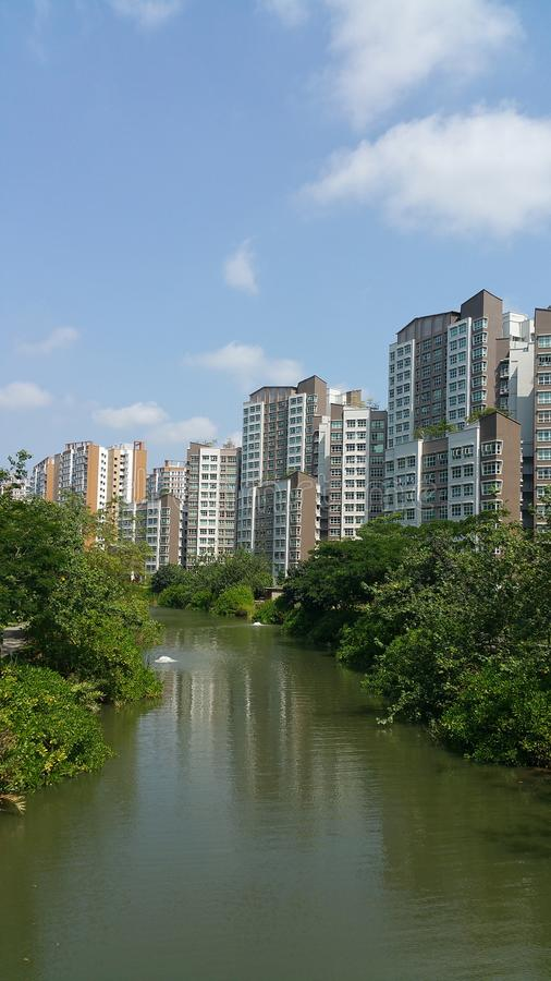 有公寓的Punggol水路 库存图片