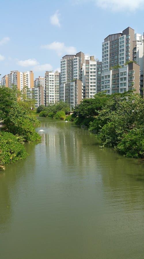 有公寓的Punggol水路 免版税图库摄影