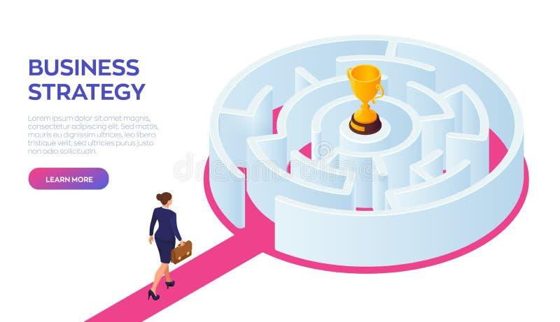 有公文包的女实业家在手中走到成功的通过迷宫 路成功 金战利品杯  库存例证