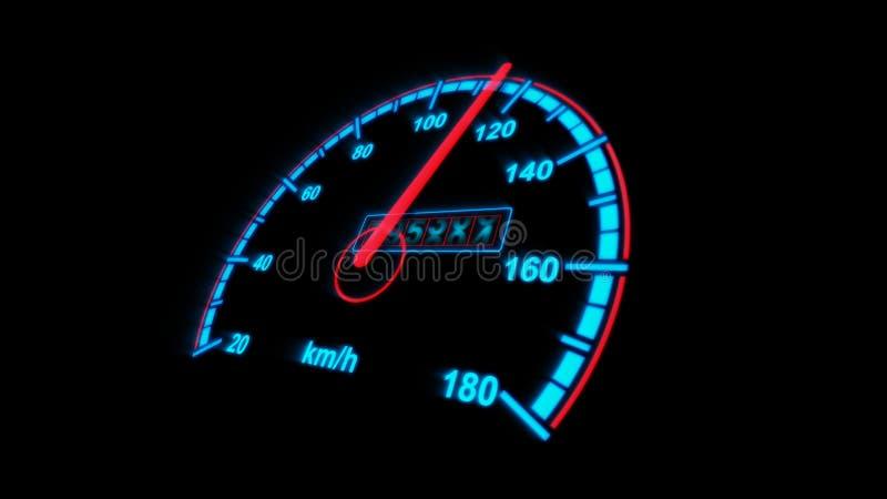 有公里的车速表歪斜安置了 皇族释放例证