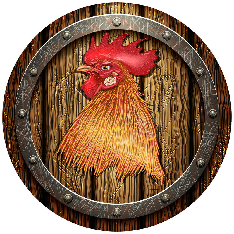 有公鸡的头的圆的木盾 向量例证