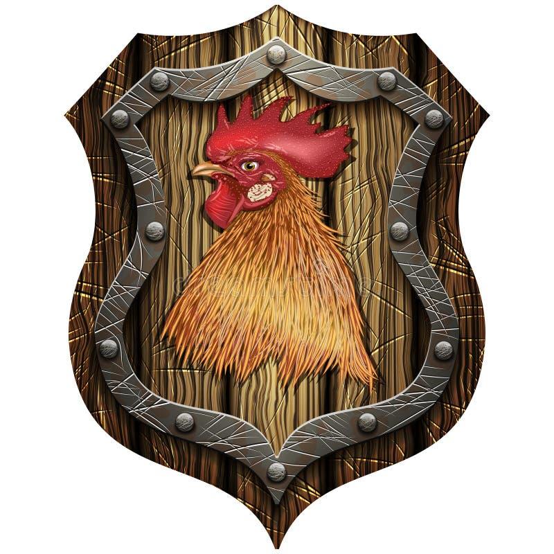 有公鸡的头的圆的木盾 库存例证