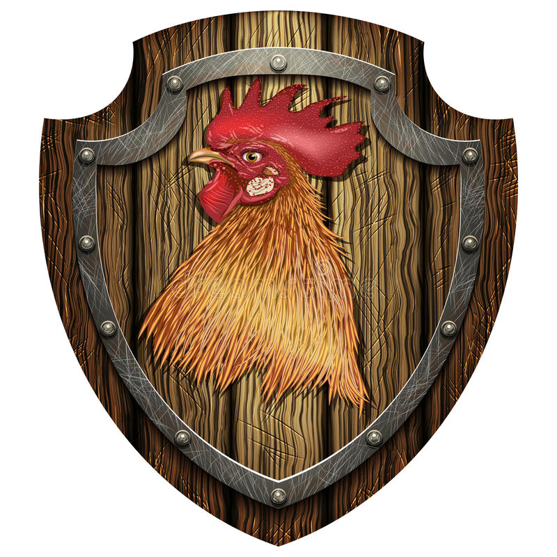 有公鸡的头的木盾 库存例证