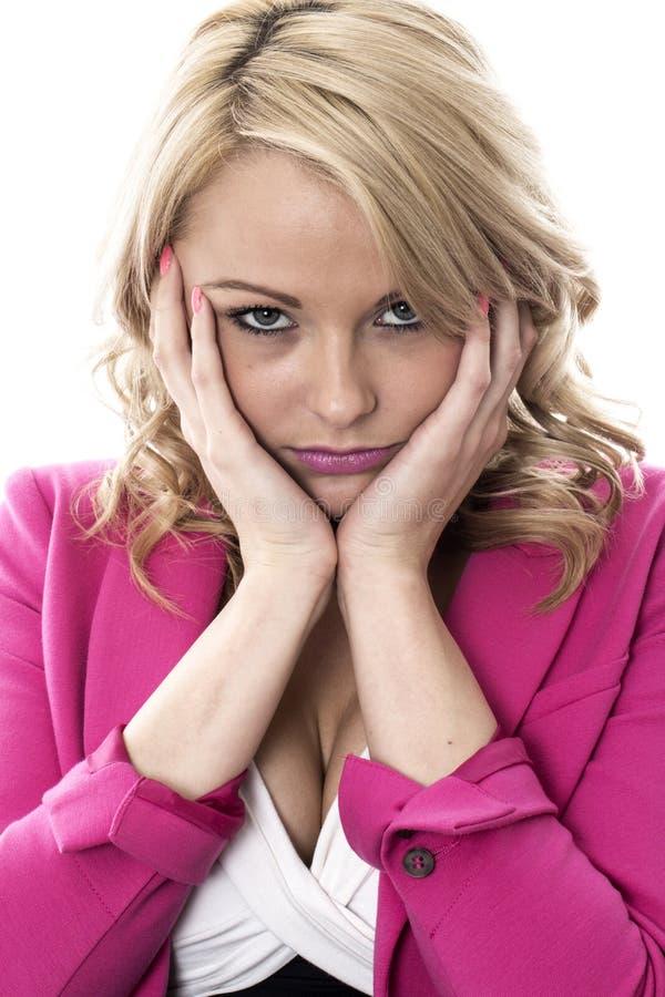 有关不快乐的年轻女商人 免版税库存照片