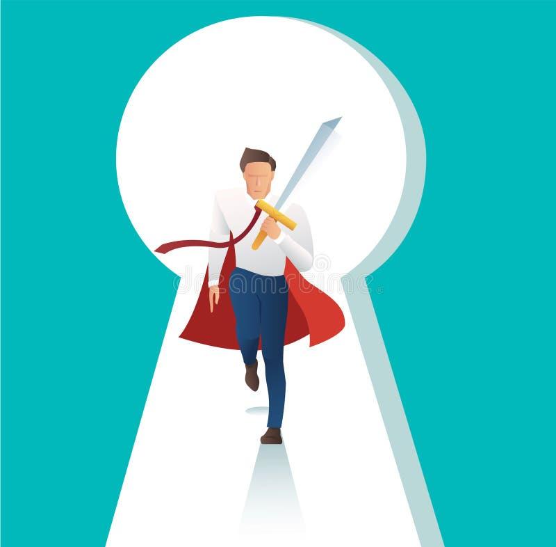 有关键孔的商人冲突积极的举行的剑,对企业成功的门 向量例证