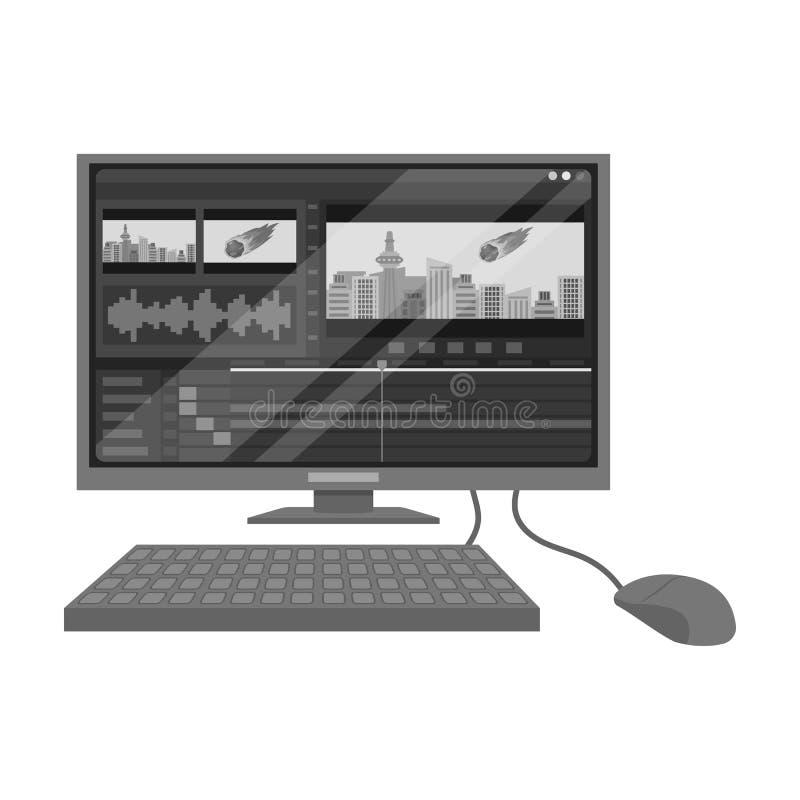 有关键董事会的计算机 做电影在单色样式的唯一象导航标志储蓄例证网 皇族释放例证