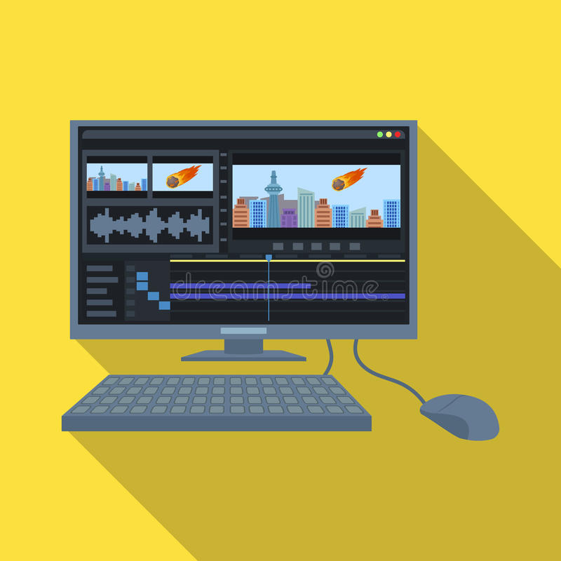 有关键董事会的计算机 做电影在平的样式的唯一象导航标志储蓄例证网 库存例证