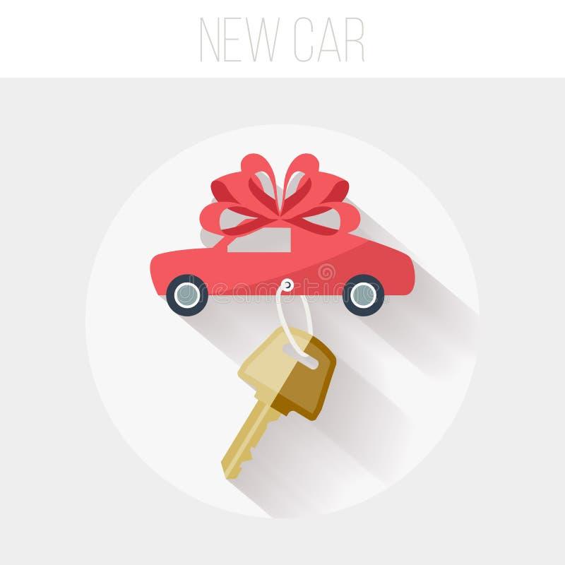 有关键象的,平的传染媒介例证新的汽车 库存例证
