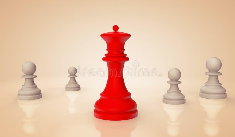 有典当的红色棋女王/王后 向量例证