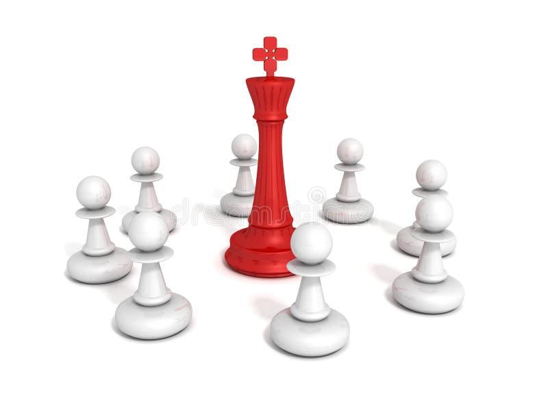 有典当的红色棋领导国王合作小组 皇族释放例证