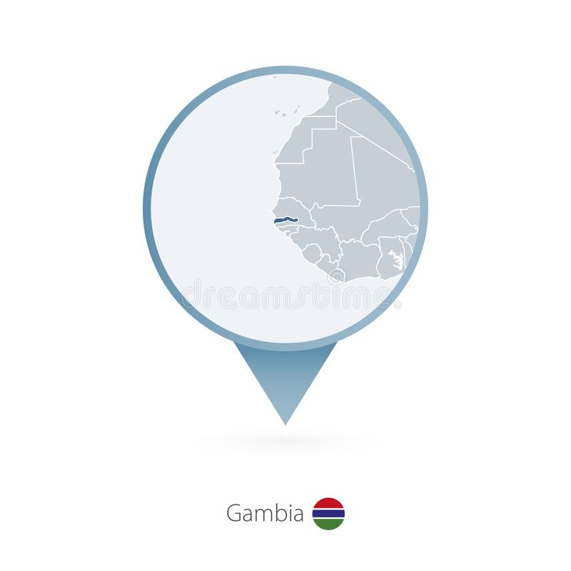 有冈比亚和邻国详细的地图的地图别针  皇族释放例证