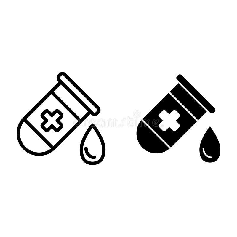 有写信和纵的沟纹象的试管 有小滴在白色隔绝的传染媒介例证的医疗烧瓶 医学化验 向量例证