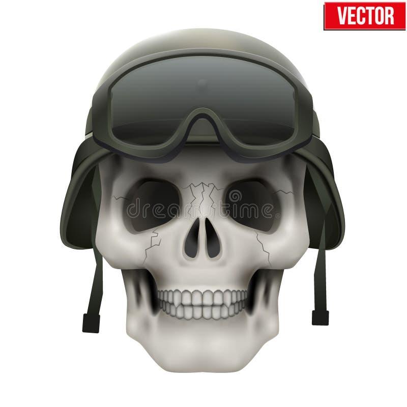 有军事盔甲的人的头骨 向量例证
