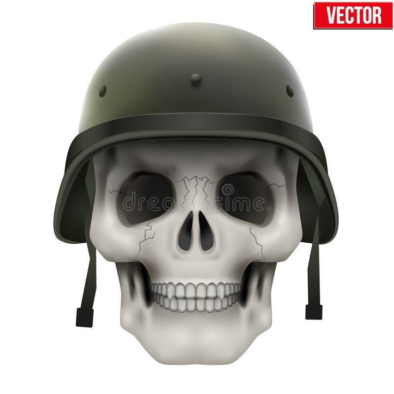 有军事盔甲的人的头骨 库存例证