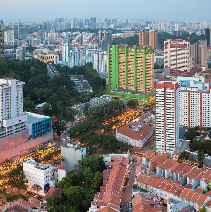 有农历新年装饰的新加坡唐人街 库存图片