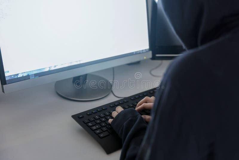 有冠乌鸦的匿名黑客,断裂窃取infor的通入 库存照片