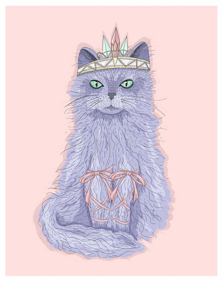 有冠和丝带的逗人喜爱的紫色猫公主 皇族释放例证