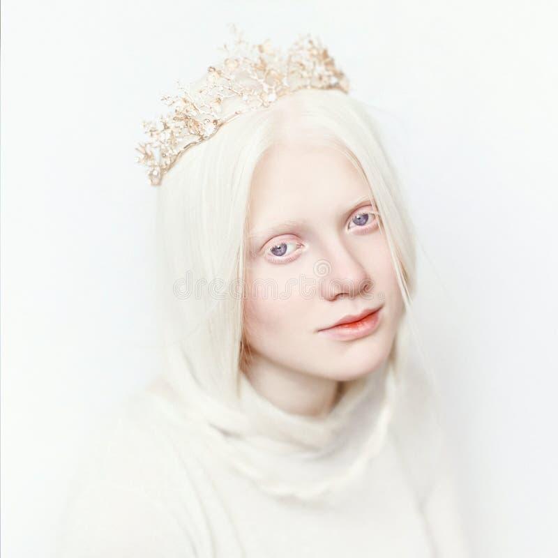 有冠和白色长的头发的白变种女性 在轻的背景的照片面孔 白肤金发的女孩 免版税库存图片