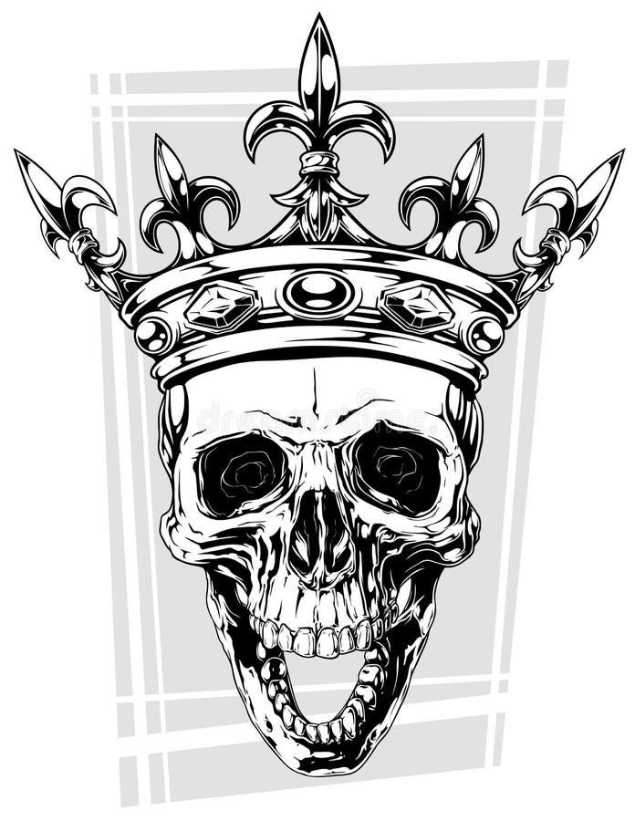 有冠的图表黑白人的头骨 向量例证