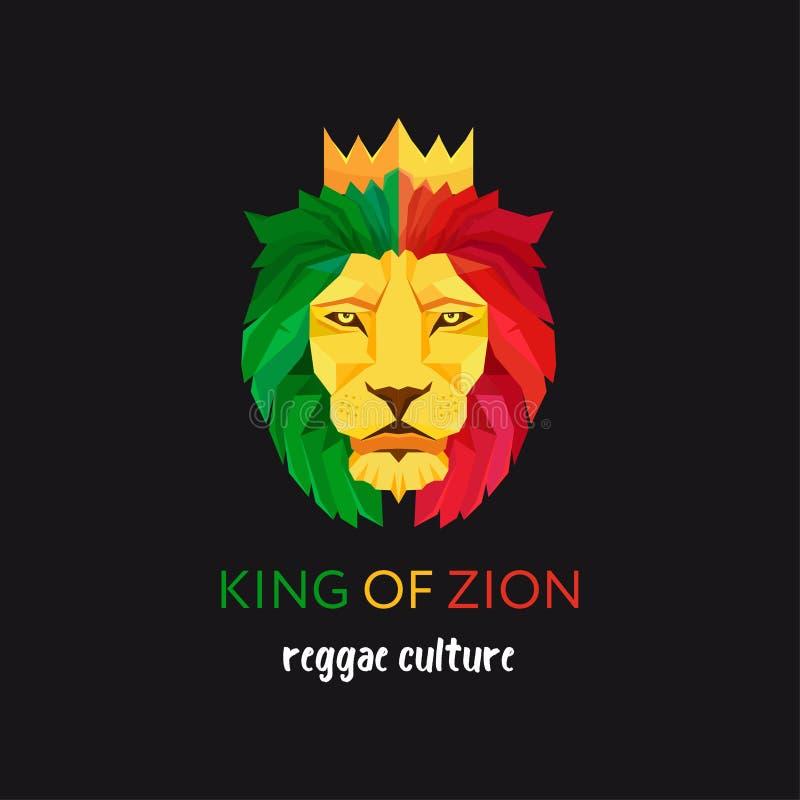 有冠的狮子头 锡安的国王 Rastafarian亚文化群的标志 牙买加的旗子颜色 皇族释放例证