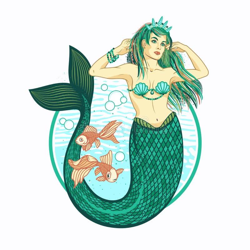 有冠的美人鱼女孩 查出的向量例证 皇族释放例证