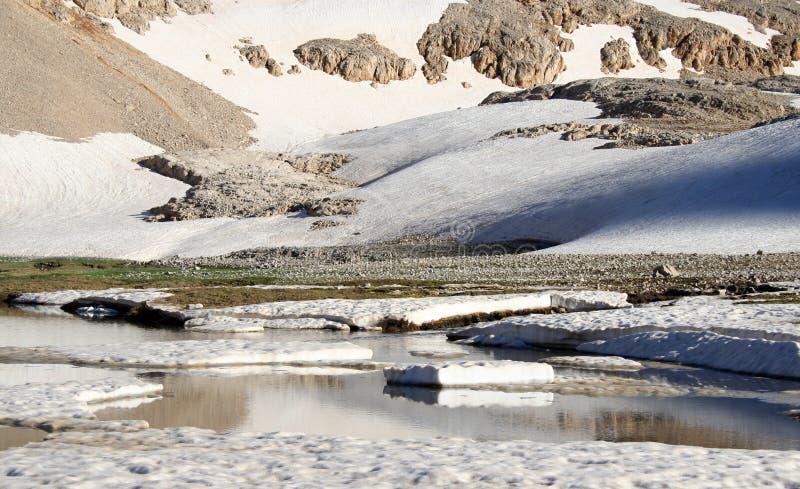 有冰山和雪的Mountain湖 免版税库存照片
