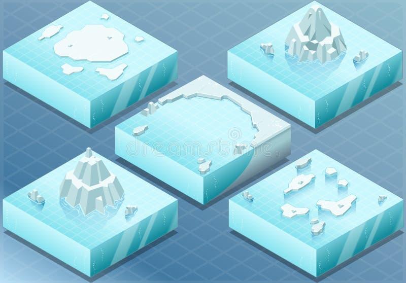 有冰山的等量北极海 库存例证