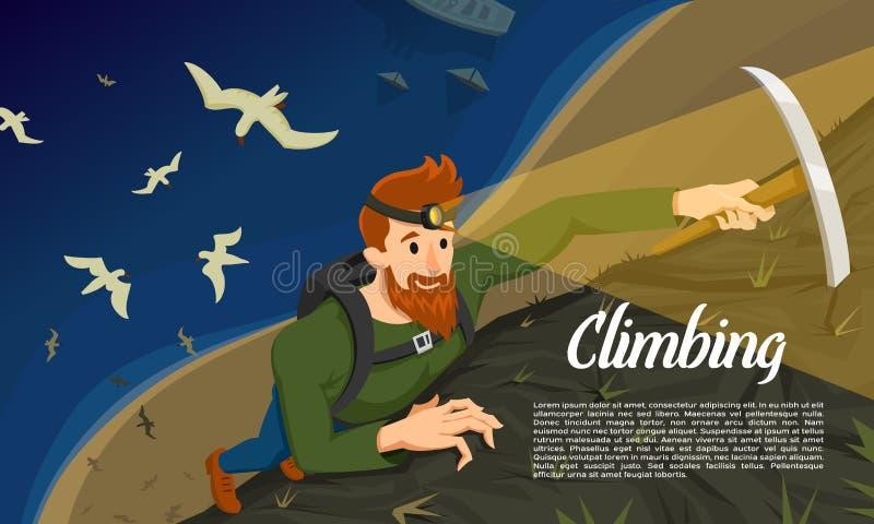 有冰斧的年轻有胡子的行家登山人 攀登一座山在晚上 活动海报的体育概念 游人 皇族释放例证