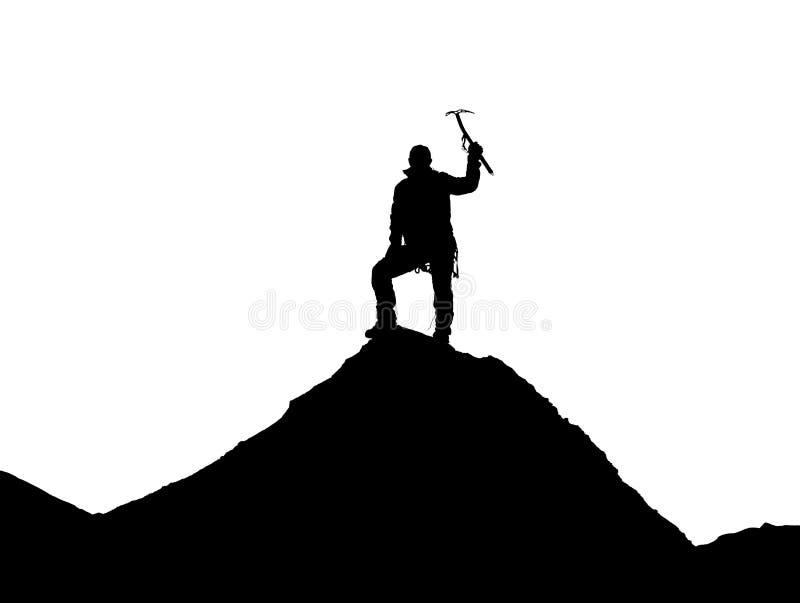 有冰斧的登山人在手中在珠峰 库存图片