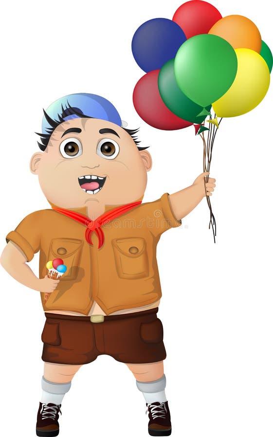有冰淇凌和气球的愉快的男孩在节日 库存图片