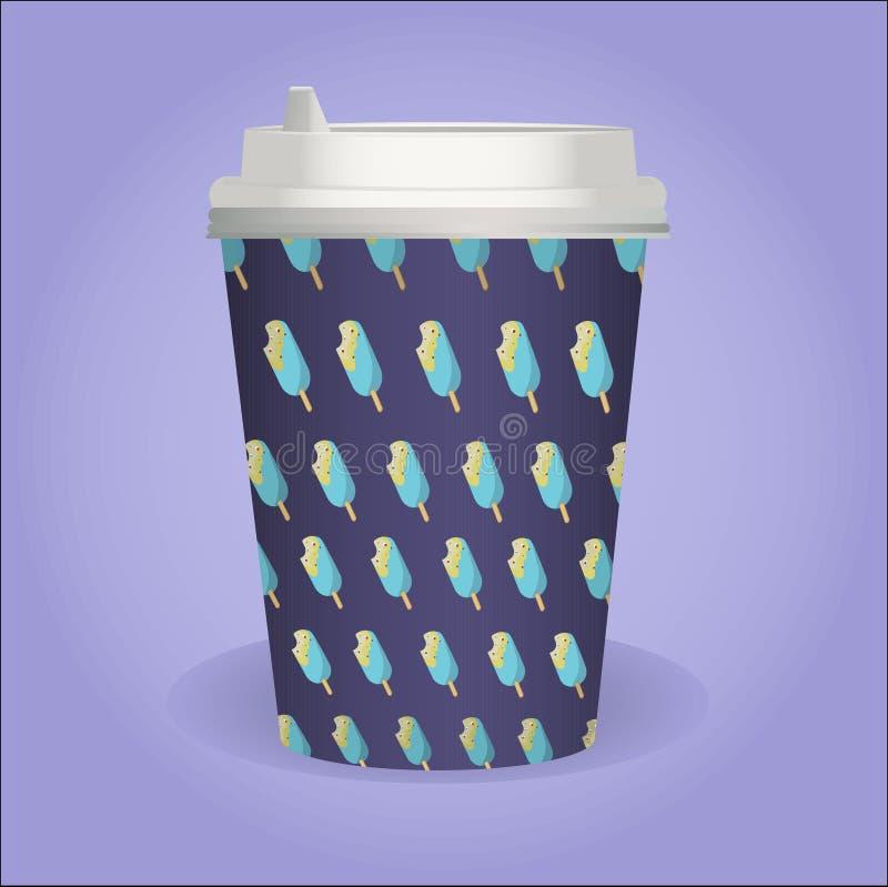 有冰淇凌样式的逗人喜爱的咖啡杯 免版税库存图片