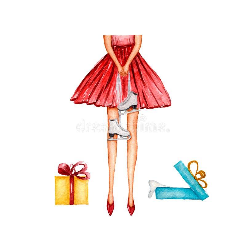 有冰鞋的时尚女孩在她的手上 在T恤杉,袋子,海报,邀请,卡片,电话盒,枕头能打印 库存例证