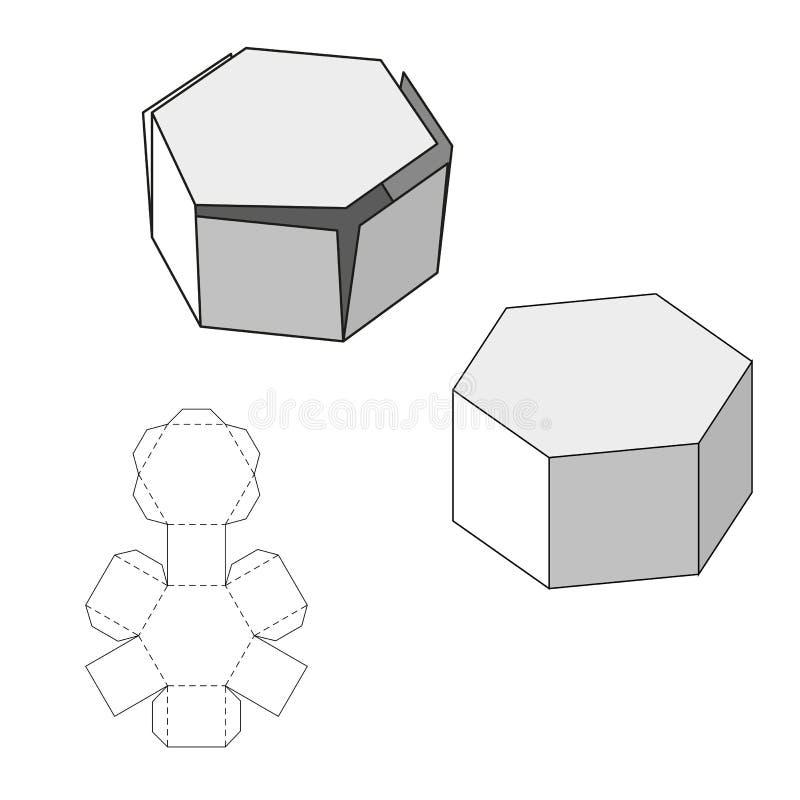 有冲切的模板的箱子 食物、礼物或者其他产品的包装盒 在空白背景 为您准备 库存例证