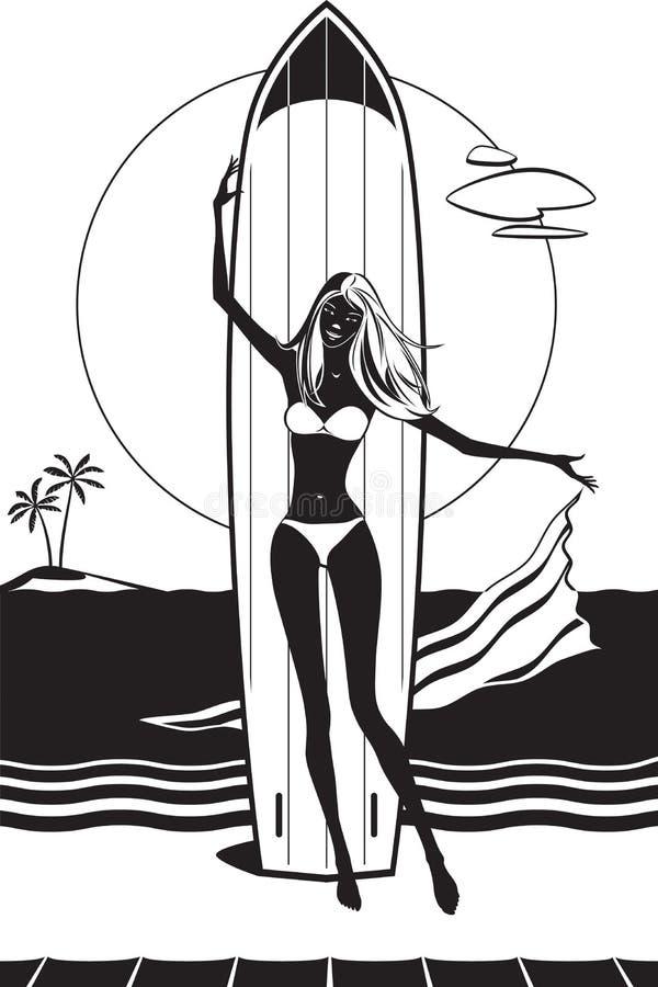 有冲浪板的女孩在海滩 皇族释放例证