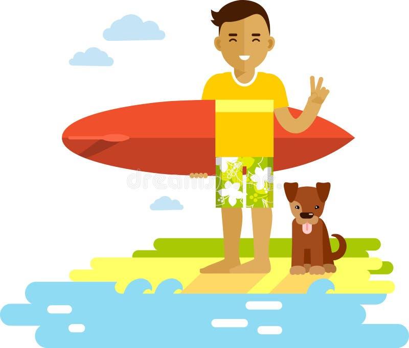 有冲浪板的年轻冲浪者人在海滩 向量例证