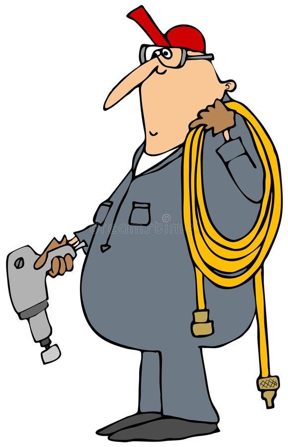 有冲击枪的工作者 皇族释放例证