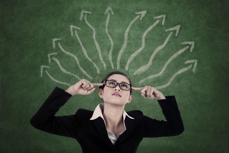 有决策方式的女实业家 免版税库存图片