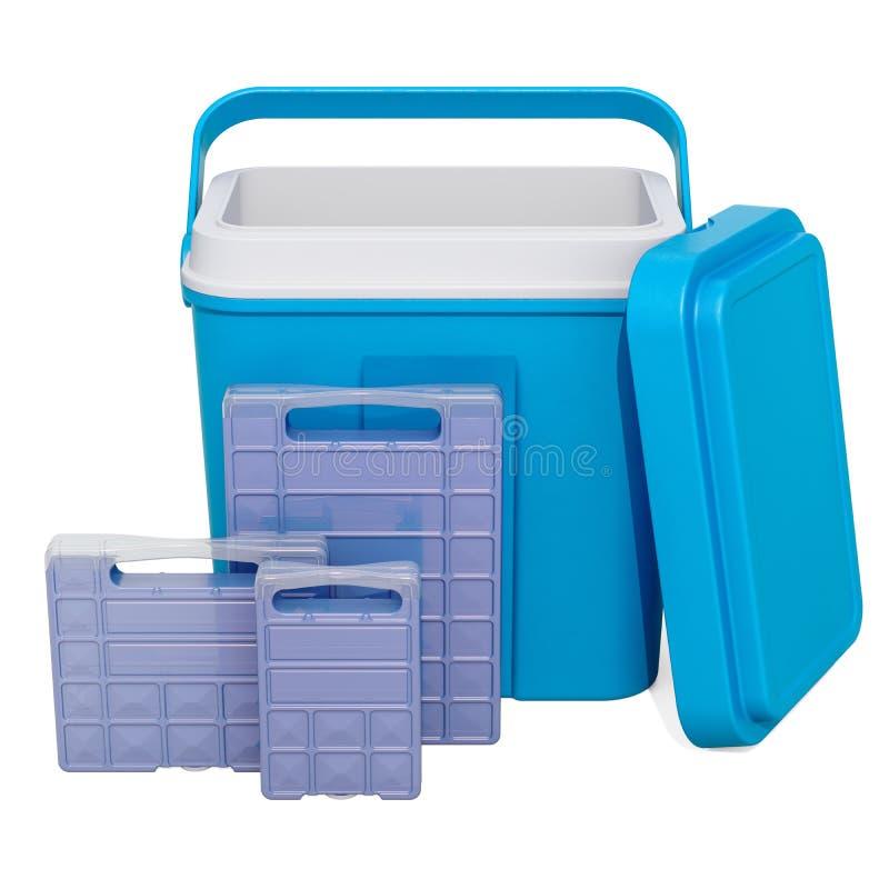 有冷冻机块的便携式的凉快的箱子, 3D翻译 向量例证