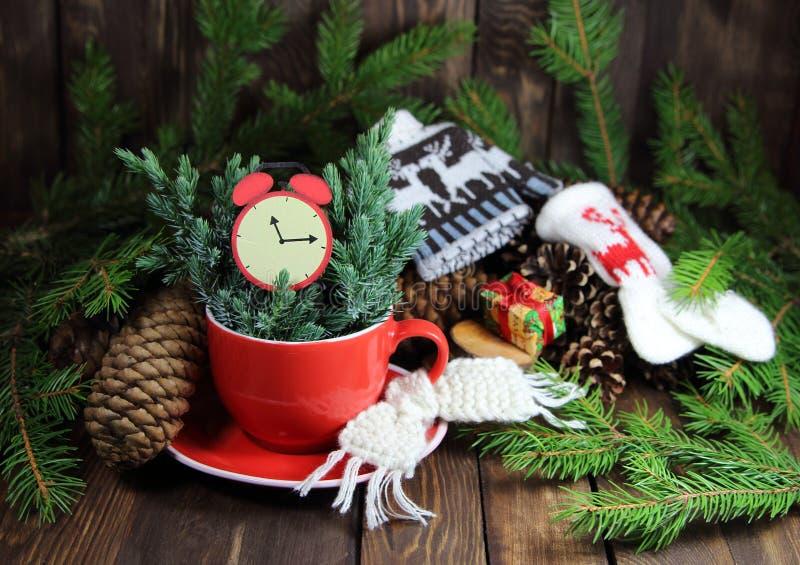 有冷杉木分支、一条被编织的围巾和闹钟的红色杯子 库存照片