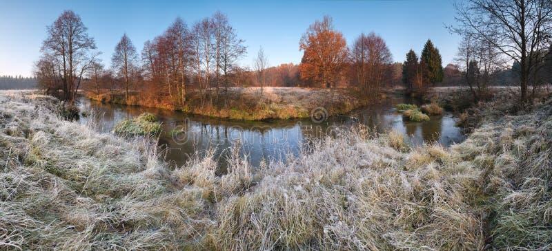 有冷淡的草、小河、落的树和蓝天的美好的秋天早晨全景 免版税库存照片