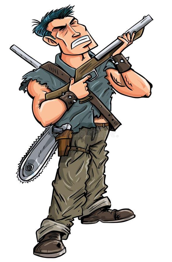 有准备好的猎枪的动画片英雄与蛇神战斗 向量例证