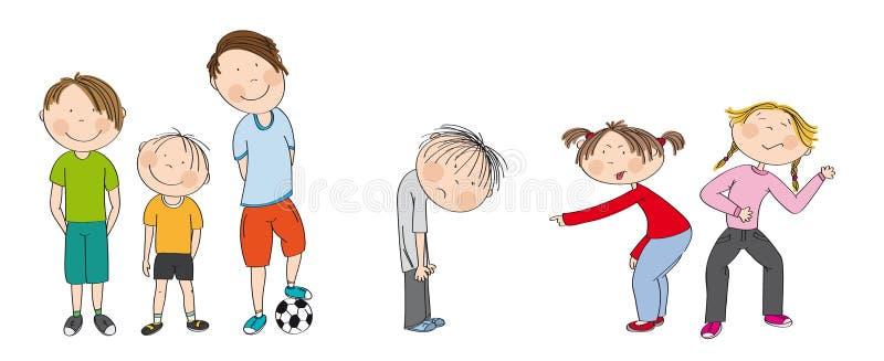 有准备好的球的三个男孩踢橄榄球/足球,胁迫哀伤的男孩的两个女孩,冷笑,触犯他 皇族释放例证