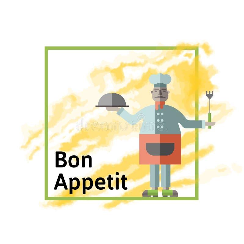有准备的盘的肥胖餐馆厨师和叉子在他的手上 向量例证,查出在白色 皇族释放例证