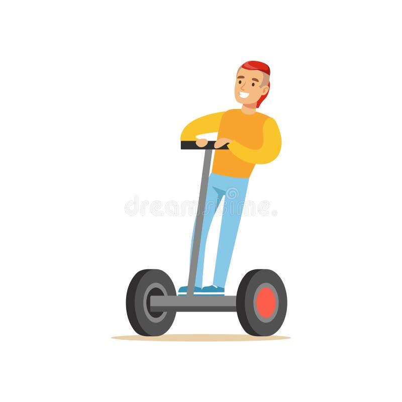 有凉快的理发的人在乘坐电自平衡的电池操作的个人电滑行车动画片的黄色毛线衣 库存例证