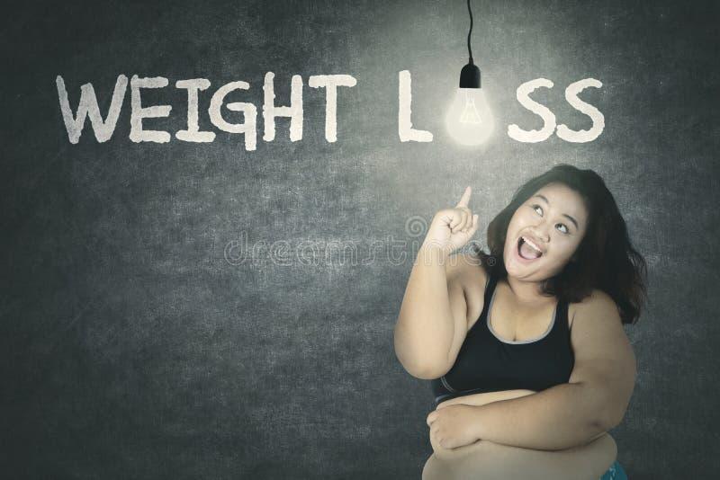 有减肥文本和明亮的电灯泡的肥胖妇女 免版税库存照片