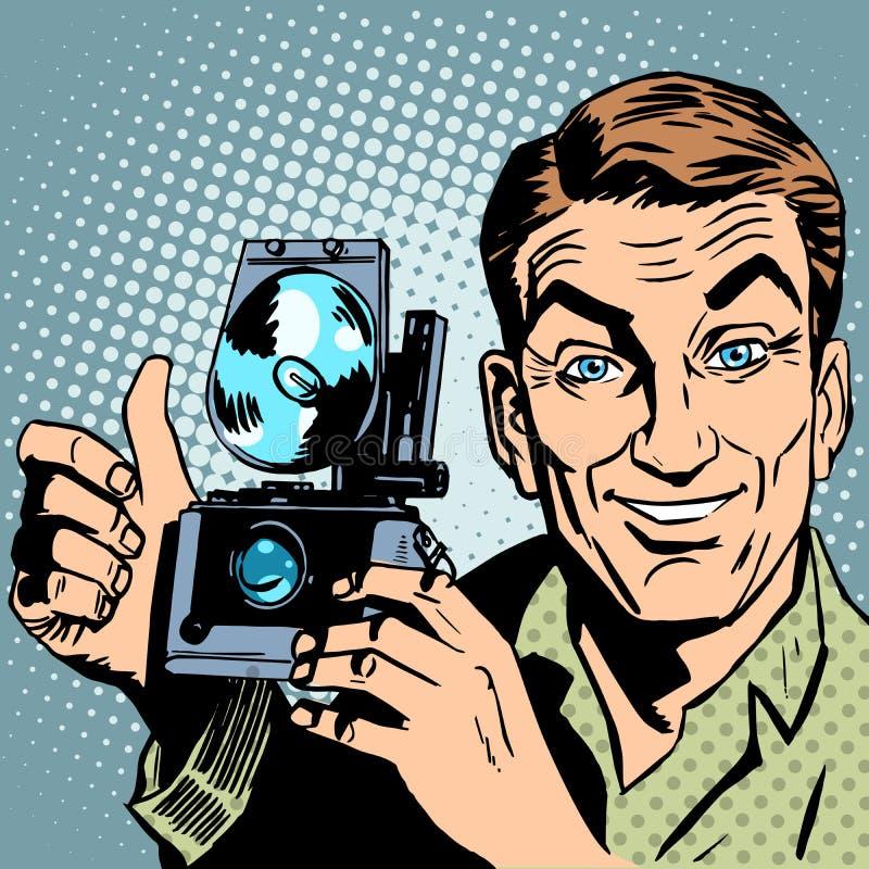 有减速火箭的照相机手势的摄影师全部是 皇族释放例证