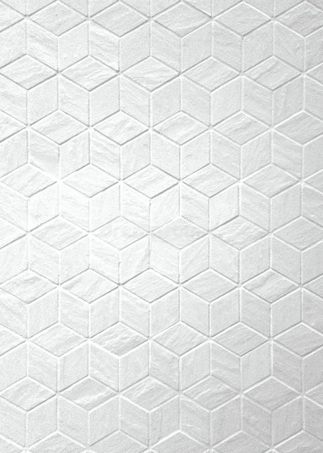 有几何形状白色颜色的无缝的样式墙壁瓦片,卫生间真正的墙壁,背景纹理 免版税库存图片