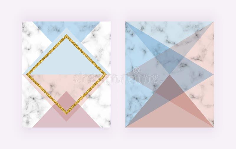 有几何设计、金黄线、桃红色和蓝色三角形状的现代盖子 邀请的,婚礼,pl时尚背景 库存例证